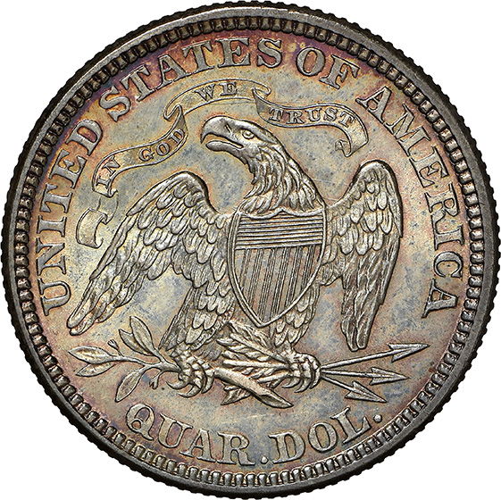 Picture of 1872 LIBERTY SEATED 25C, MOTTO MS67