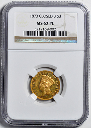 Picture of 1873 INDIAN PRINCESS $3, CLOSED 3 MS62 Proof Like
