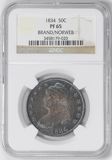 Picture of 1834 CAPPED BUST 50C, LETTERED EDGE PR65