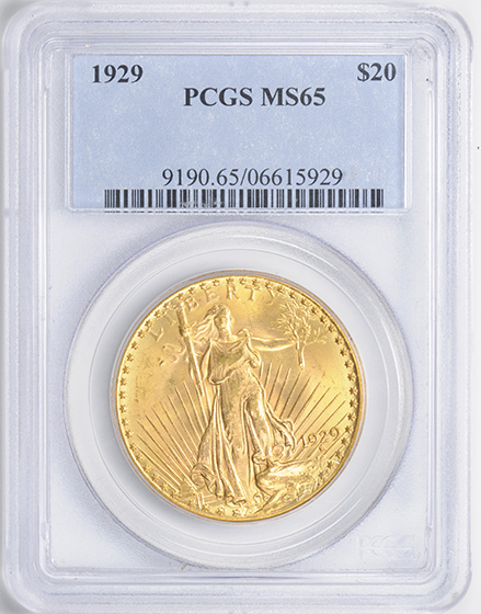 Picture of 1929 ST. GAUDENS $20, MOTTO MS65