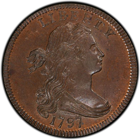 Picture of 1797 DRAPED BUST 1C, S-135 REV OF '97, STEMS MS65 Brown