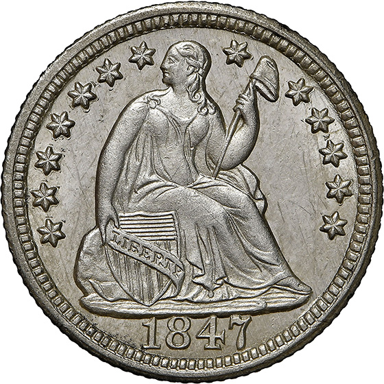 Picture of 1847 LIBERTY SEATED H10C, DRAPERY MS67