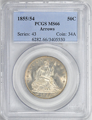 Picture of 1855/54 LIBERTY SEATED 50C, ARROWS, NO MOTTO MS66