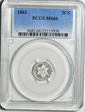 Picture of 1863 SILVER 3CS, TYPE 3 MS66