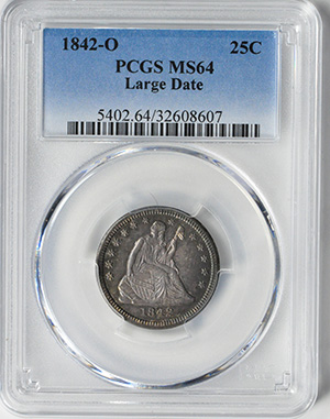 Picture of 1842-O LIBERTY SEATED 25C, LARGE DATE, NO MOTTO MS64