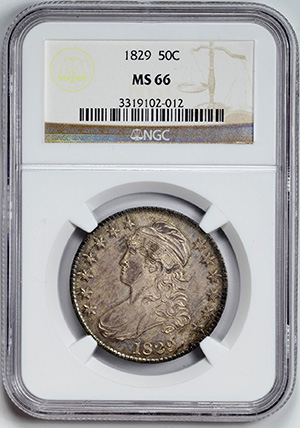 Picture of 1829 CAPPED BUST 50C, LETTERED EDGE MS66