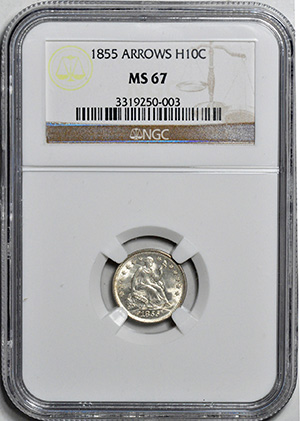 Picture of 1855 LIBERTY SEATED H10C, ARROWS MS67