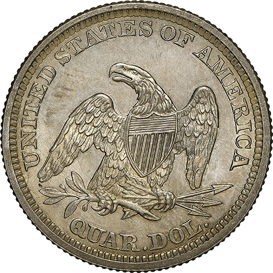 Picture of 1863 LIBERTY SEATED 25C, NO MOTTO MS66+