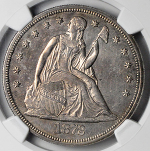Picture of 1872-CC LIBERTY SEATED S$1, MOTTO MS61
