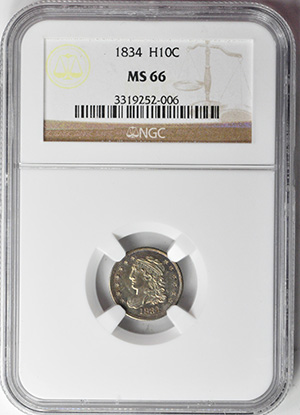 Picture of 1834 CAPPED BUST H10C MS66