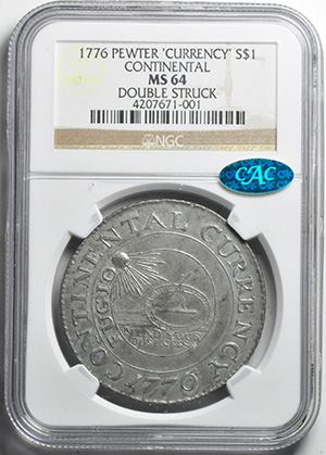 Picture of 1776 CURRENCY, PEWTER $1 MS64
