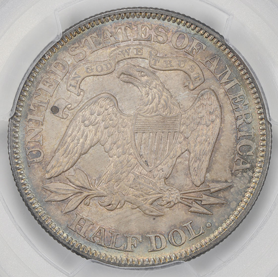Picture of 1866 LIBERTY SEATED 50C, MOTTO MS66