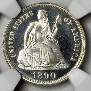 Picture of 1890 LIBERTY SEATED 10C, LEGEND PR68 Deep Cameo