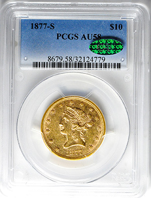 Picture of 1877-S LIBERTY $10, MOTTO AU58
