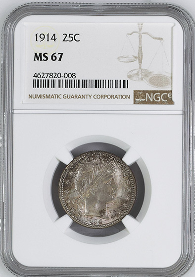 Picture of 1914 BARBER 25C MS67
