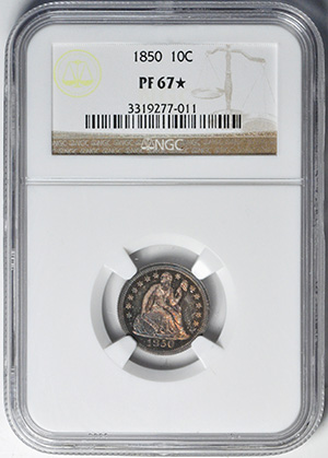 Picture of 1850 LIBERTY SEATED 10C, DRAPERY PR67
