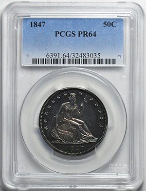 Picture of 1847 LIBERTY SEATED 50C, NO MOTTO PR64