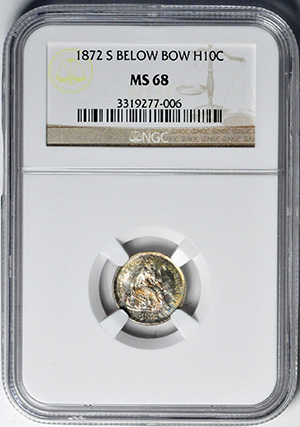 Picture of 1872-S LIBERTY SEATED H10C, MINTMARK BELOW, LEGEND MS68