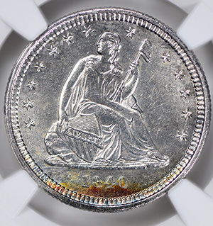 Picture of 1840-O LIBERTY SEATED 25C, DRAPERY, NO MOTTO MS63