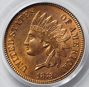 Picture of 1873 INDIAN BRONZE 1C, CLOSED 3 MS65 Red