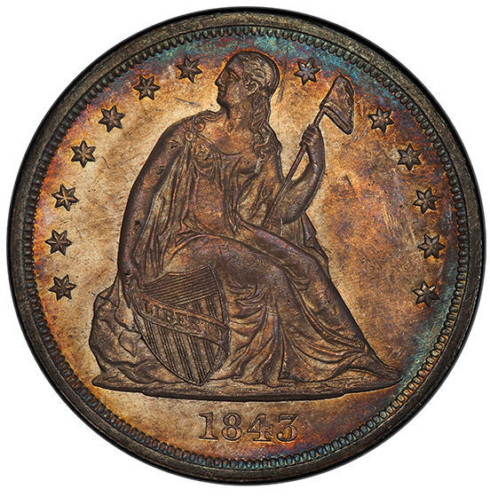 Picture of 1843 LIBERTY SEATED S$1, NO MOTTO MS63