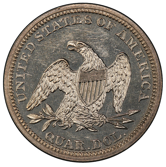 Picture of 1845 LIBERTY SEATED 25C, NO MOTTO PR63