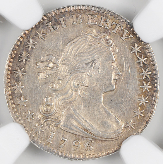 Picture of 1796 DRAPED BUST H10C, LIKERTY MS64+