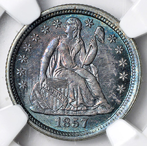 Picture of 1857-O LIBERTY SEATED 10C, DRAPERY MS66