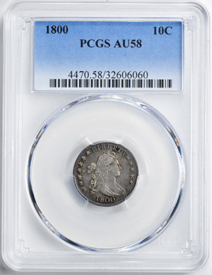 Picture of 1800 DRAPED BUST 10C, LARGE EAGLE AU58