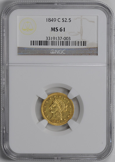 Picture of 1849-C LIBERTY $2 1/2 MS61