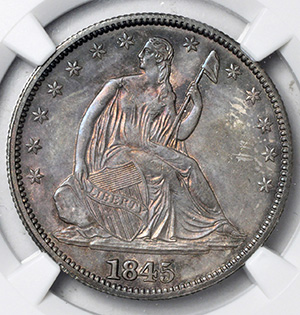 Picture of 1845 LIBERTY SEATED 50C, NO MOTTO MS64