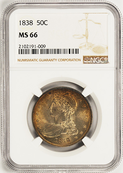 Picture of 1838 CAPPED BUST 50C, REEDED EDGE MS66