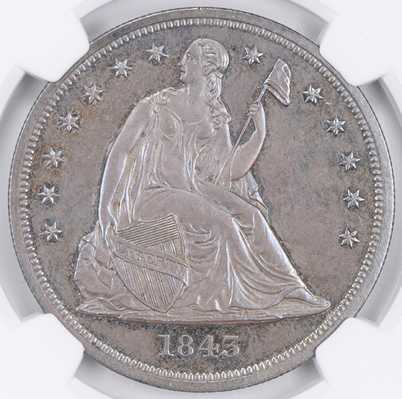 Picture of 1843 LIBERTY SEATED S$1, NO MOTTO PR64+