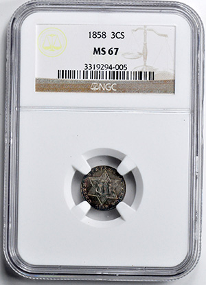 Picture of 1858 SILVER 3CS, TYPE 2 MS67