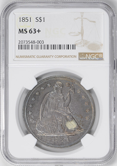 Picture of 1851 LIBERTY SEATED S$1, NO MOTTO MS63+