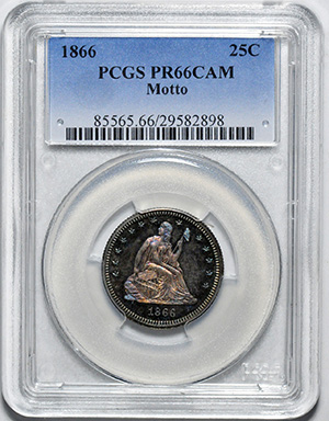 Picture of 1866 LIBERTY SEATED 25C, MOTTO PR66 Cameo