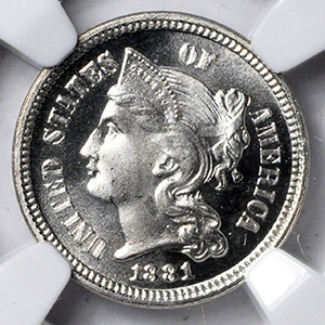 Picture of 1881 NICKEL 3CN PR68 Cameo