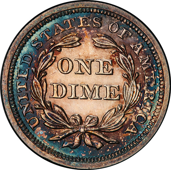 Picture of 1857 LIBERTY SEATED 10C PR65