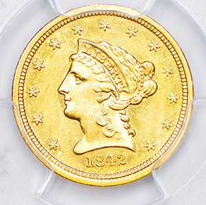 Picture of 1842-D LIBERTY $2 1/2 AU58