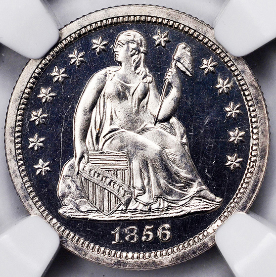 Picture of 1856 LIBERTY SEATED 10C, SMALL DATE, DRAPERY PR66 Cameo