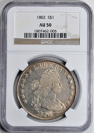 Picture of 1802 BUST $1, NARROW DATE, LARGE EAGLE AU50
