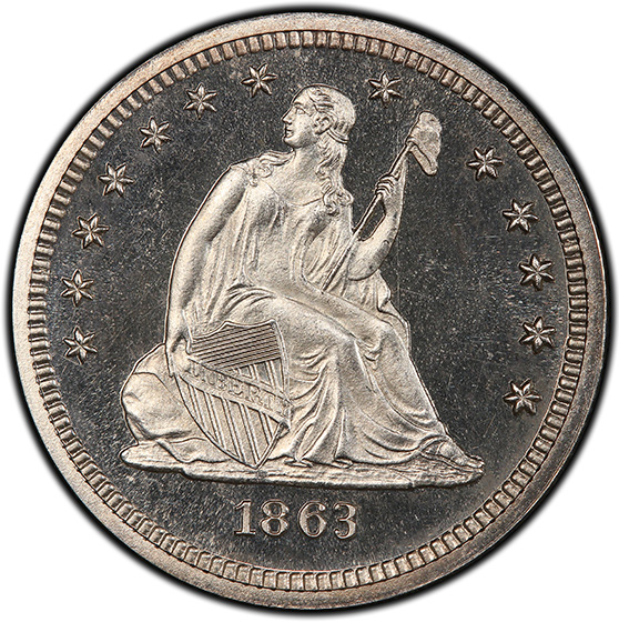 Picture of 1863 LIBERTY SEATED 25C, NO MOTTO PR66 Cameo