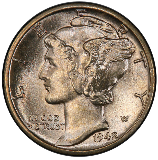 Picture of 1942/1-D MERCURY 10C MS66 Full Bands