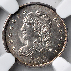 Picture of 1835 CAPPED BUST H10C, LARGE DATE, SMALL 5C MS65