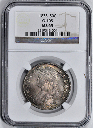 Picture of 1823 CAPPED BUST 50C, LETTERED EDGE MS65