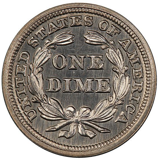 Picture of 1850 LIBERTY SEATED 10C, DRAPERY PR65