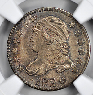 Picture of 1820 CAPPED BUST 10C, SMALL 0, LARGE DENTICLES MS67
