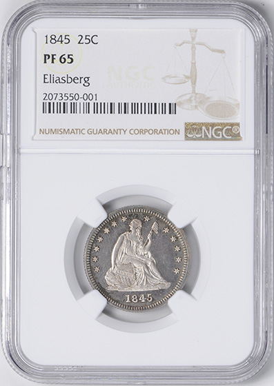 Picture of 1845 LIBERTY SEATED 25C, NO MOTTO PR65