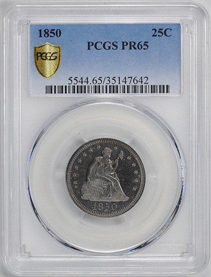 Picture of 1850 LIBERTY SEATED 25C, NO MOTTO PR65