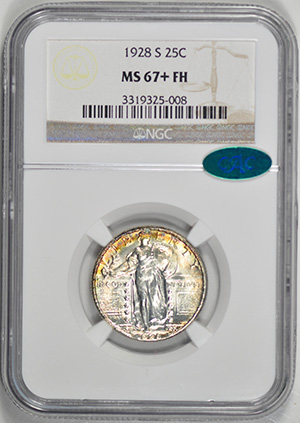 Picture of 1928-S STANDING LIBERTY 25C MS67+ Full Head